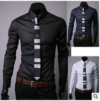 argyle dress - Hot sale men Slim business blouse cotton mens designer clothes turn down collar tommis shirts fashion Obscure argyle dress shirt