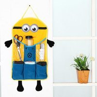 used clothing - Despicable me minion sundries storage bags wall door hanging folding sundries buggy bag bathroom bedroom used LJJH174