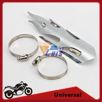 Wholesale Chrome Chopper Cruiser Motorcycle Exhaust Pipe Shield Flame Exhaust Muffler Silencer Heat Shield Cover Heel Guard Universal order lt no trac