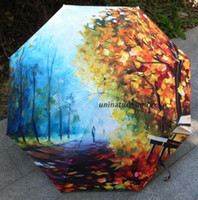 alley fashion - No Parasol Sombrinha Sale Umbrellas New Fashion Vintage Oil Painting Autumn Alley Landscape Print Rain Sun Three Folding