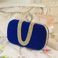 Wholesale Exquisite Suede Black Red Royal Blue Prom Handbags Evening Bag Diamond Clutch for Bridal Wedding Party Formal Ocassion Bags with Chain