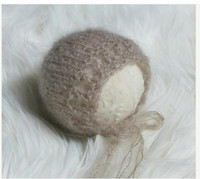 Wholesale MODEL SYX newborn knitting bonnet angola mohair baby shower infant props baby photography props
