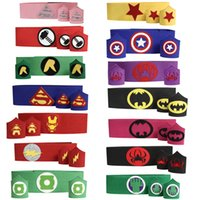 Wholesale Kids Superhero cuff waistband sets superman batman spiderman Captain American for kids cosplay costume use with superhero cape mask