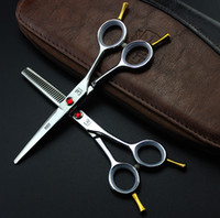 Wholesale 711 Top Quality Japan Kasho Hair Scissors Professional Hair Cutting and Hair Thinning Shears with Red Diamond and Two Straight Tails