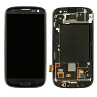 Wholesale For Samsung Galaxy S3 I9300 I9308 I9305 T999 i535 I747 LCD Touch Screen Digitizer Assembly replacements with frame White Blue color