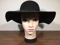 Wholesale 2016 New Arrival Wool Felt Bowler Fedora Hat Retro Vintage Women Lady Cloches Sunhat Soft Wide Brim Autumn Winter Pure Color Woolen Caps H07