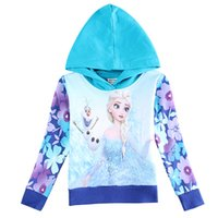 boutique clothes - Children Boutique Clothing Winter Frozen Hoody Hooded Pullover Sweatshirts Girls Fleece Hoodies Baby Outwear F5701
