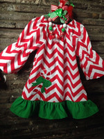 chevron print - baby girls Christmas red white chevron candy cane dress with matching hair bows and chunky necklace set