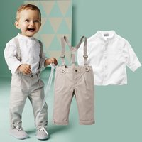Wholesale Boys Clothes Set White Shirt And Overall Pant Boys Clothing Set Gentleman Autumn Children s Clothing Set