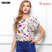 Cheap 19 colors european style Women Floral bird Printed Chiffon Blouse Short Sleeved Shirts women clothes Apparel