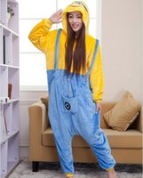 10PCS LJJH867 Inverno Natale con cappuccio Sleepwear Pigiami adulti Cattivissimo Me Minion Tutina costume cosplay adulti Minion Pigiama