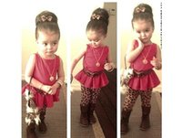 Wholesale 2015 Spring summer New Girls Floral casual Suit Sets Female frilled blouse leopard print pants suit baby girl outwear kids outfits