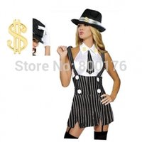 Wholesale new cosplay ZY254 gangster costume flapper dress costume with gangster hat belt