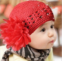 Wholesale Baby Girls Caps With Big Flower Girl s Floral Hats Baby Crochet Beanie Hats Caps Pink Red Headwear Accessories