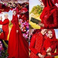 Cheap Special Design Elegant Red A Line Lace Chiffon 2015 Muslim Kaftan Dubai High Neck Long Sleeve Evening Prom Dresses with Hijab Abaya Isl 5216