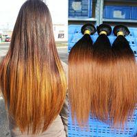 two tone hair extensions - Brazilian Malaysian European Hair Weave Straight Ombre Human Hair Extensions Two Tone B Straight Pieces