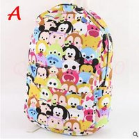 Wholesale 15pcs CCA3044 Hot Sale Tsum Tsum School Bags Mickey Minnie Canvas Backpack Minions Cartoon Children Casual Shoulder Bag Student Schoolbag