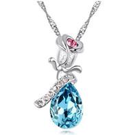 pendant flower rhinestone - S925 Rose Angel Tears pendant Korean Top Grade Rose Flower Austrian Crystal Drop Necklace Romantic Love Necklace Pendants jewelry