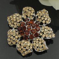 Wholesale 1Pc Stunning Topaz Siam Rhinestone Flower Silver Fashion Brooch Pin order lt no tracking