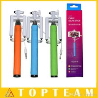 Pleated aluminum handheld - Monopod Foldable Selfie Sticks Self Timer Handheld With Cable XD With Groove Cable Take Pole Monopod For Iphone6 Samsung Galaxy S6 Note4