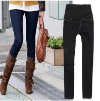 Wholesale Trendy Pregnant Women Elastic Jeans Pencil Pants Maternity Trousers