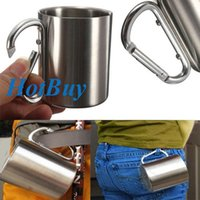 stainless steel double wall bottle - Stainless Steel Coffee Mug Camping Portable Cup Carabiner Hook Double Wall