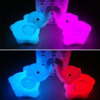Wholesale 48pcs LED Color Changing LED Night Lights Fancy Elephant Flashing Lights Desk Lamps Bedroom Living Room Favors HX466