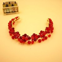 antique cocktails - 2016 New Arrival Cheap Top Quality Elegant Ruby Hair Accessries Red Crystal Headband Wedding Crown Cocktail Crown CPA527