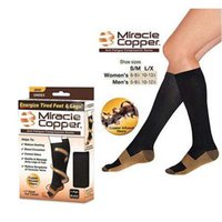 Wholesale Miracle Copper Socks Anti Fatigue Compression Socks S M L XL Unisex For Sport With Retail Package DHL Factory Direct