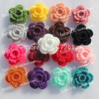 Wholesale pics colorful cotton knitted D flower for baby girl hair decoration headbands accessories for women decor