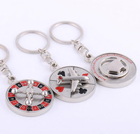 aircraft compass - Russian Roulette Keychain Creative Car Aircraft Compass Spinning Casino Props Keyring Key Chain Ring Keyfob High Quality