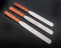 Wholesale Baking tool inch wooden handle stainless steel spatula cream cake spatula knife with high quality