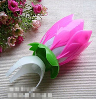Wholesale 30pcs sale Beautiful Musical Candle Intelligent Birthday Party Flower Candle Blossom Lotus Sparkle
