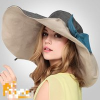 Wholesale Brand New beach hats for women sombreros women summer hat big bongrace sunhat folded travelling hat for vacation