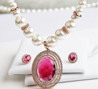 Wholesale 2015 New Style Necklace Earrings Jewelry Sets High quality Pearl Ruby Necklace Micro Restoring Ancient Ways With NEW LOOK Jewelry Set