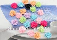 bathroom centers - 250pcs Flatback multicolor Resin rose flower Cabochons mm DIY scrapbook hair bow flower centers cell phone