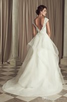 Wholesale 2015 Off The Shoulder A line Wedding Dresses V neck Piping Backless Taffeta Sweep Train Tulle Contoured Lace Beads Bridal Gown Modern Sexy