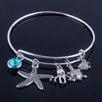 Wholesale 10pcs new style alex and ani bracelets bangles sea life charms adjustable Expandable Wire Bracelets for women