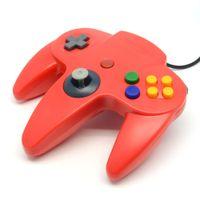 al por mayor nintendo n64-Al por mayor-caliente 1x mango largo controlador de juegos Game Pad Joystick Gamepad rojo para Nintendo 64 para N64 Diseño retro clásico