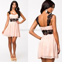 Wholesale Pink Crochet Lace Embroidery Vintage Dress New Fashion Women Work Wear Mini Chiffon Dress Elegant Casual Skater Dress