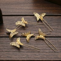 Wholesale HolloW Gold Butterfly Vintage Wedding Bridal Clips Headpieces Jewelry Barrettes Sparkly For Wedding WWL