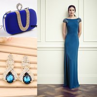 short sparkly prom dresses - 2015 Prom Dresses Sparkly Earrings With Handbag Vintage Ruffles Cheap Long Prom Gowns Dance Crew Women Short Sleeve Evening Dress Top Column