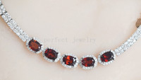 Wholesale Garnet chain bracelet Natural real garnet sterling silver Fine red gemstone jewelry Perfect Jewelry DH