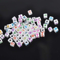 Wholesale hot White Mixed Letter Alphabet Cube Acrylic Pony Beads Fit Jewelry making mm YL1004