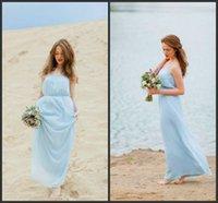 light blue wedding dress - Newest Light Sky Blue Chiffon Romantic Beach Wedding Dresses Spaghetti A line Floor Length Wedding Gowns Simple Cheap Brida lDresses