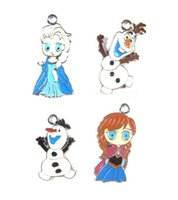 Wholesale Lowest Price Style Cartoon Frozen Elsa Anna Olaf Metal Charms Jewelry Make pendants Gifts
