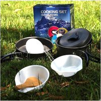 Wholesale W0023 Hot Sale set Superior Portable Outdoor Camping Hiking Cookware Cooking Picnic Bowl Pot Pan Set Non stick cookware
