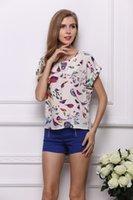 Wholesale 2016 Brand New Bird Print Pattern Crew Neck Short Sleeve Women T shirt Ladies T Shirt