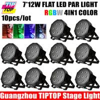 Wholesale Freeshipping XLOT W Flat Led Par Light RGBW DMX Stage Lighting Plastic Black Case DMX Channels Hot Led Par Can V V Degee