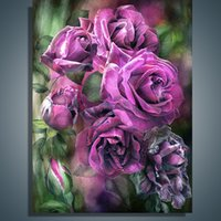 art realism - 2015 hand painted Canvas Painting Modern Decorative Art Wall Museum Magnitude Realism Flowers Elegant Purple Roses Accept Custom